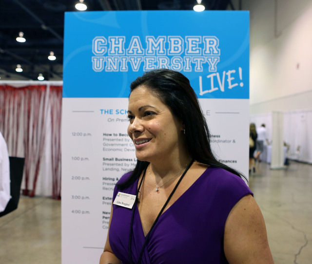 Corporate attorney Gina Bongiovi stands for a photo during the Business Expo sponsored by Las Vegas Metro Chamber at Cashman Field on Wednesday, June 15, 2016.  Jeff Scheid/Las Vegas Review-Journa ...