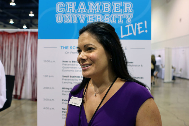 Corporate attorney Gina Bongiovi stands for a photo during the Business Expo sponsored by Las Vegas Metro Chamber at Cashman Field on Wednesday, June 15, 2016.  (Jeff Scheid/Las Vegas Review-Journ ...