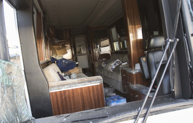 A look inside the Dallas Cowboys team bus after it was involved in a fatal crash with a minivan on U.S. Highway 93 and Pierce Ferry Road in Dolan Springs, Ariz., on Sunday, July 24, 2016. (Richard ...