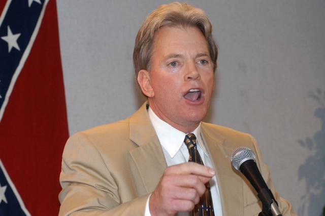 Former Ku Klux Klan leader David Duke speaks to supporters in Kenner, La., May 29, 2004. Duke said he plans to run for U.S. Senate in Louisiana. (Burt Steel/AP)