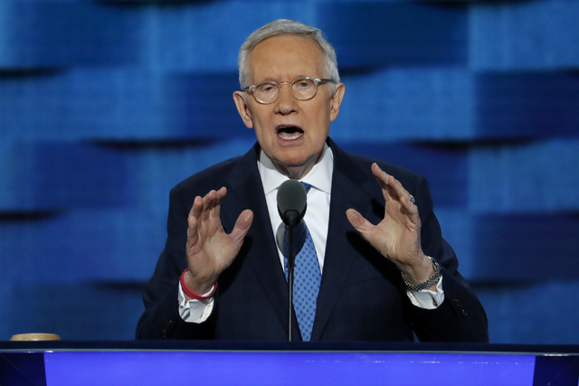 Senate Minority Leader Harry Reid of Nev., speaks during the third day of the Democratic National Convention in Philadelphia , Wednesday, July 27, 2016. (J. Scott Applewhite/AP)