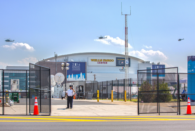 Law enforcement helicopters patrol outside the Wells Fargo Center in preparation for the Democratic National Convention on Saturday, July 23, 2016, in Philadelphia, Pa. (Benjamin Hager/Las Vegas R ...
