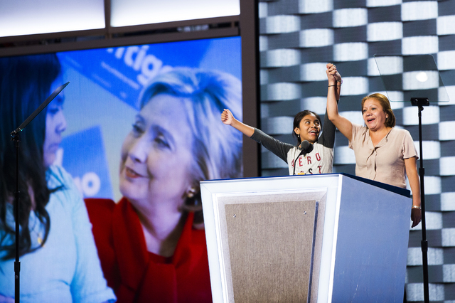 Las Vegas residents Karla Ortiz, left, and mother Francisca practice their speech scheduled for the first night of the Democratic National Convention at the Wells Fargo Center on Sunday, July 24,  ...
