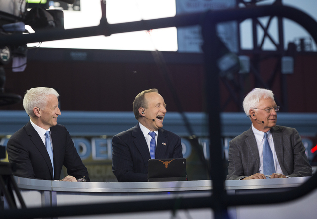 CNN correspondent Anderson Cooper, left, hosts a live broadcast of the Democratic National Convention at the Wells Fargo Center on Sunday, July 24, 2016, in Philadelphia. (Benjamin Hager/Las Vegas ...