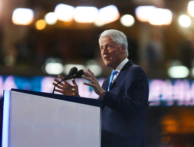 Former President Bill Clinton addresses the Democratic National Convention at the Wells Fargo Center on Tuesday, July 26, 2016, in Philadelphia, Pa. Benjamin Hager/Las Vegas Review-Journal