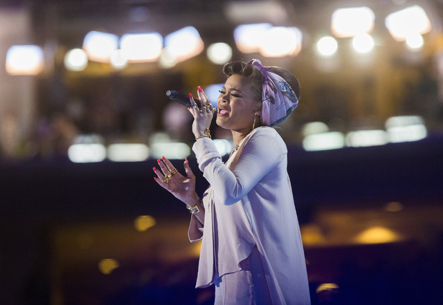 Andra Day performs during the second day of the Democratic National Convention at the Wells Fargo Center on Tuesday, July 26, 2016, in Philadelphia, Pa. Benjamin Hager/Las Vegas Review-Journal