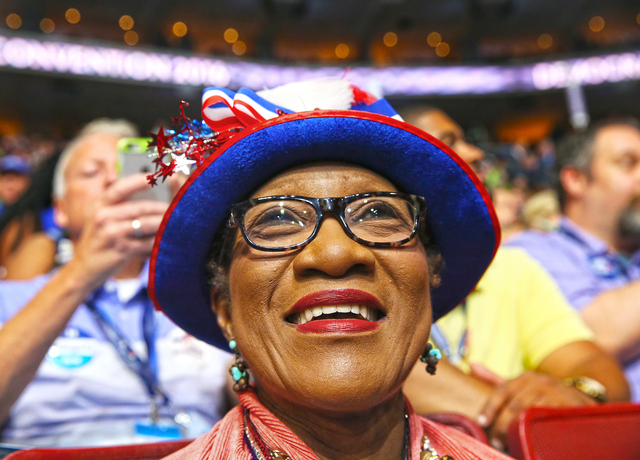 North Carolina delegate Gloria Goodwin listens to a speaker on the second day of the Democratic National Convention at the Wells Fargo Center on Tuesday, July 26, 2016, in Philadelphia, Pa. Benjam ...