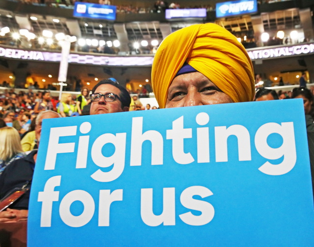 Harpreet Sandhu listens to a speaker at the Democratic National Convention at the Wells Fargo Center on Tuesday, July 26, 2016, in Philadelphia, Pa. Benjamin Hager/Las Vegas Review-Journal