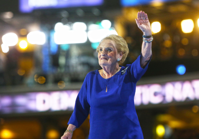 Former U.S. Secretary of State Madeleine Albright waives to the crowd at the Democratic National Convention at the Wells Fargo Center on Tuesday, July 26, 2016, in Philadelphia, Pa. Benjamin Hager ...