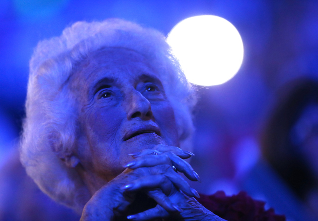 Attendees listen to Former President Bill Clinton speak during the Democratic National Convention at the Wells Fargo Center on Tuesday, July 26, 2016, in Philadelphia, Pa. Benjamin Hager/Las Vegas ...