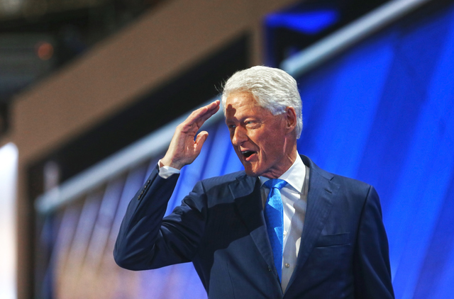 Former President Bill Clinton salutes the crowd during the Democratic National Convention at the Wells Fargo Center on Tuesday, July 26, 2016, in Philadelphia, Pa. Benjamin Hager/Las Vegas Review- ...