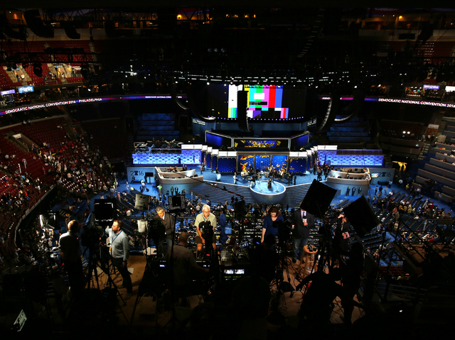 Media prep for the second day of the Democratic National Convention at the Wells Fargo Center on Tuesday, July 26, 2016, in Philadelphia. (Benjamin Hager/Las Vegas Review-Journal)
