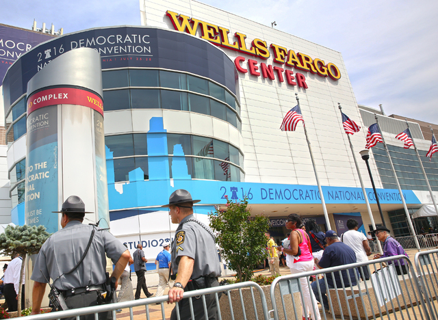 Pennsylvania state troopers guard the perimeter of the Wells Fargo Center on the second day of the Democratic National Convention on Tuesday, July 26, 2016, in Philadelphia. (Benjamin Hager/Las Ve ...