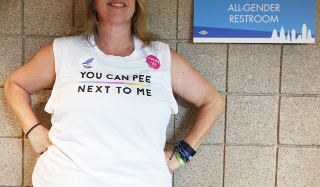 Carin Chase waits for the bathroom on the second day of the Democratic National Convention at the Wells Fargo Center on Tuesday, July 26, 2016, in Philadelphia. (Benjamin Hager/Las Vegas Review-Jo ...