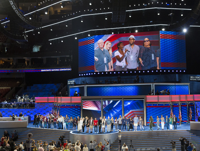 """Production rehearses """"What the World Needs Now"""" before the start of the third day of the Democratic National Convention at the Wells Fargo Center on Wednesday, July 27, 2016, in Philadelphia. Benj ..."""