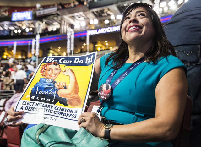 Mary Jane Sanchez-Fulton listens to rehearsals before the start of the third day of the Democratic National Convention at the Wells Fargo Center on Wednesday, July 27, 2016, in Philadelphia. Benja ...