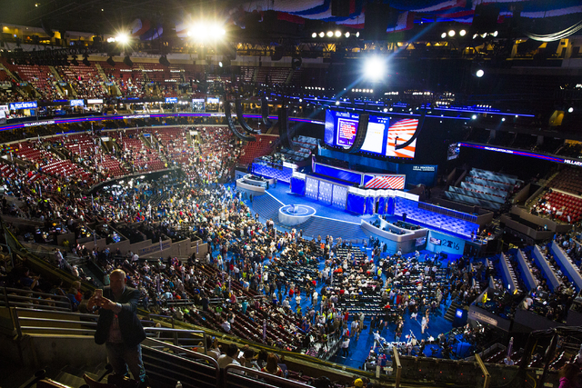 The Wells Fargo Center fills up before the start of the third day of the Democratic National Convention on Wednesday, July 27, 2016, in Philadelphia. Benjamin Hager/Las Vegas Review-Journal