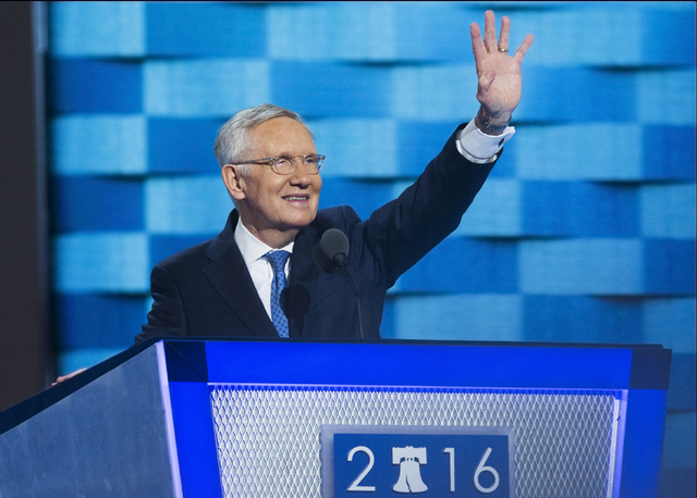 Senate Minority Leader Harry Reid addresses the crowd during the third day of the Democratic National Convention at the Wells Fargo Center on Wednesday, July 27, 2016, in Philadelphia. Benjamin Ha ...