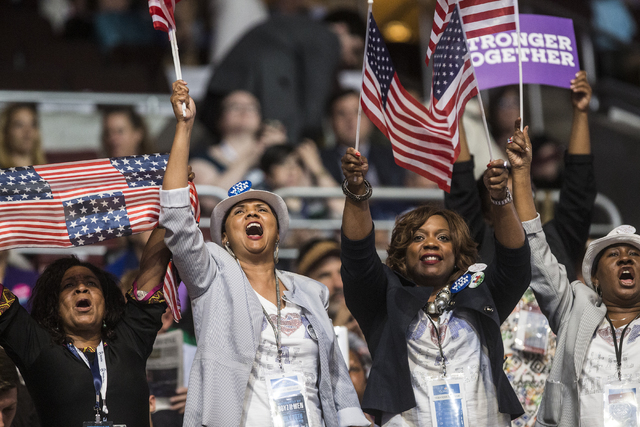 Supporters of Senate Minority Leader Harry Reid erupt during the third day of the Democratic National Convention at the Wells Fargo Center on Wednesday, July 27, 2016, in Philadelphia. Benjamin Ha ...