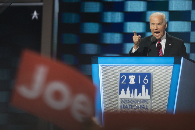Vice President Joe Biden addresses the crowd during the third day of the Democratic National Convention at the Wells Fargo Center on Wednesday, July 27, 2016, in Philadelphia. Benjamin Hager/Las V ...