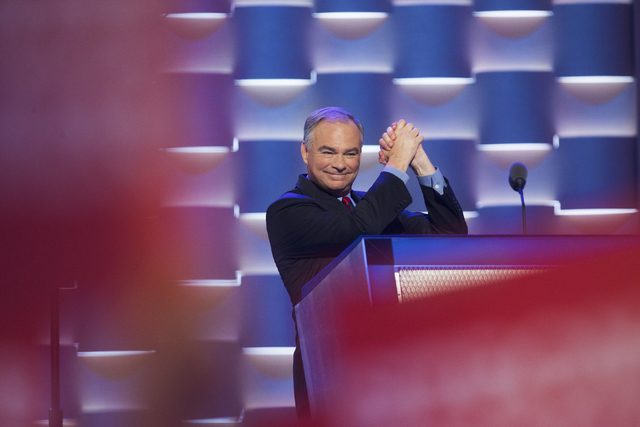 Vice presidential running mate Tim Kaine addresses the crowd during the third day of the Democratic National Convention at the Wells Fargo Center on Wednesday, July 27, 2016, in Philadelphia. Benj ...