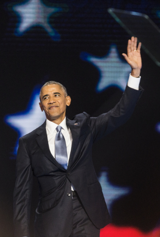 President Barack Obama waves to the crowd during the third day of the Democratic National Convention at the Wells Fargo Center on Wednesday, July 27, 2016, in Philadelphia. Benjamin Hager/Las Vega ...