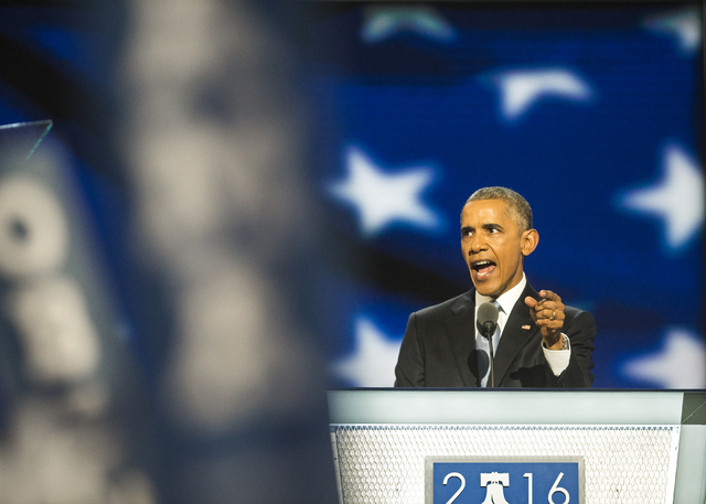 President Barack Obama addresses the crowd during the third day of the Democratic National Convention at the Wells Fargo Center on Wednesday, July 27, 2016, in Philadelphia. Benjamin Hager/Las Veg ...