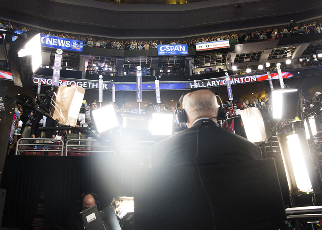 A CBS news affiliate prepares to go live during the final day of the Democratic National Convention at the Wells Fargo Center on Thursday, July 28, 2016, in Philadelphia. Benjamin Hager/Las Vegas  ...