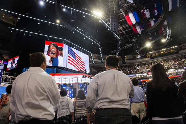 Attendees listen to the National Anthem during the final day of the Democratic National Convention at the Wells Fargo Center on Thursday, July 28, 2016, in Philadelphia. Benjamin Hager/Las Vegas R ...
