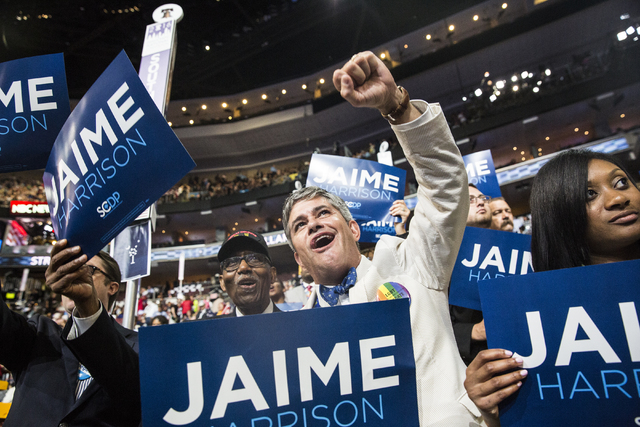 Ed Greenleaf cheers for South Carolina Democrat Jamie Harrison during the final day of the Democratic National Convention at the Wells Fargo Center on Thursday, July 28, 2016, in Philadelphia. Ben ...