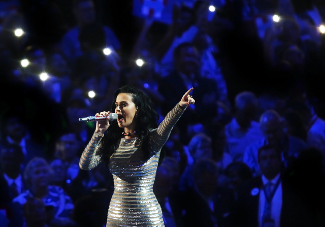 """Katy Perry performs """"Roar"""" during the final day of the Democratic National Convention at the Wells Fargo Center on Thursday, July 28, 2016, in Philadelphia. Benjamin Hager/Las Ve ..."""