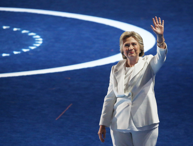 Democratic presidential nominee Hillary Clinton addresses waives to the crowd during the final day of the Democratic National Convention at the Wells Fargo Center on Thursday, July 28, 2016, in Ph ...