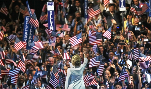 Democratic presidential nominee Hillary Clinton waives to  the crowd during the final day of the Democratic National Convention at the Wells Fargo Center on Thursday, July 28, 2016, in Philadelphi ...