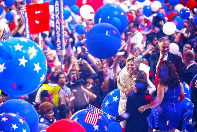 Democratic presidential nominee Hillary Clinton celebrates on stage after finishing her speech during the final day of the Democratic National Convention at the Wells Fargo Center on Thursday, Jul ...
