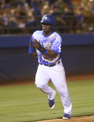 Las Vegas 51s player Dilson Herrera approaches home base during a baseball game against the El Paso Chihuahuas at Cashman Field in Las Vegas on Friday, May 13, 2016. Chase Stevens/Las Vegas Review ...