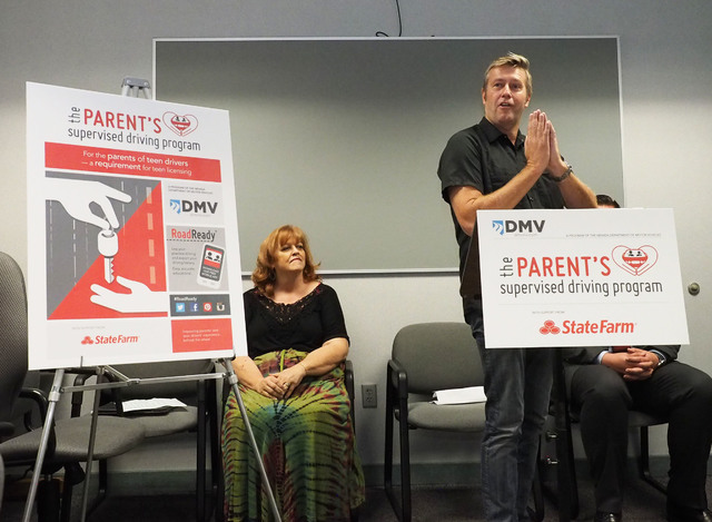 Jeff Payne, founder of Drivers Edge, speaks to the media as the Nevada Department of Motor Vehicles unveils a new program, The Parent's Supervised Driving Program, that will help parents teach the ...