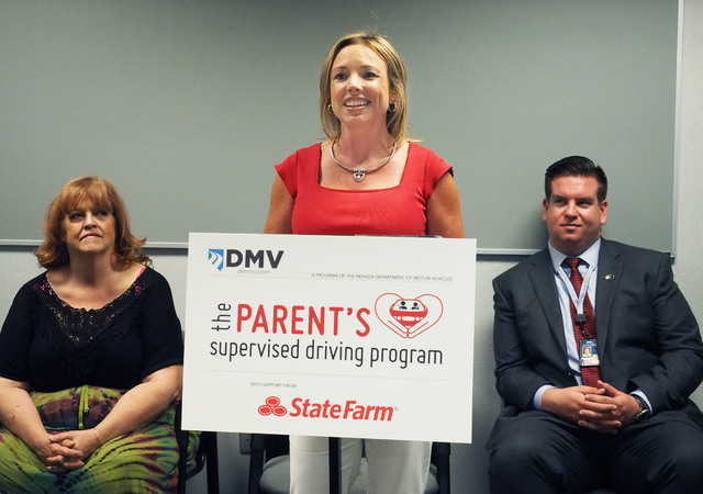 Las Vegas State Farm Insurance agent Carrie Maddux talks about her son as the Nevada Department of Motor Vehicles unveils a new program, The Parent's Supervised Driving Program, that will help par ...