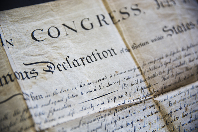The second-generation copy of the Declaration of Independence found in a box of documents purchased at an online auction by Kevin Kostiner, seen here at Kostiner's home on Wednesday, June 22, 2016 ...