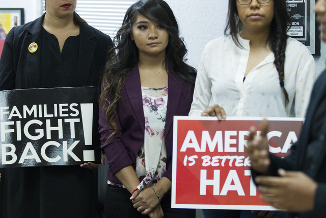 Estefani Guillermo, 20, center, participates during a press conference on immigration at the Culinary Workers Union Local 226 on Tuesday, July 12, 2016, in Las Vegas. Erik Verduzco/Las Vegas Revie ...