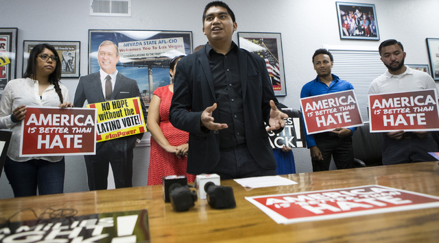 Francisco Morales, state director for the Center for Community Change, speaks during a press conference on immigration at the Culinary Workers Union Local 226 on Tuesday, July 12, 2016, in Las Veg ...