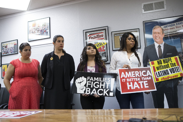 Community activists from left, Astrid Silva, organizing director for the Progressive Leadership Alliance of Nevada, Yvanna Cancela, political director for the Culinary Workers Union Local 226, Est ...