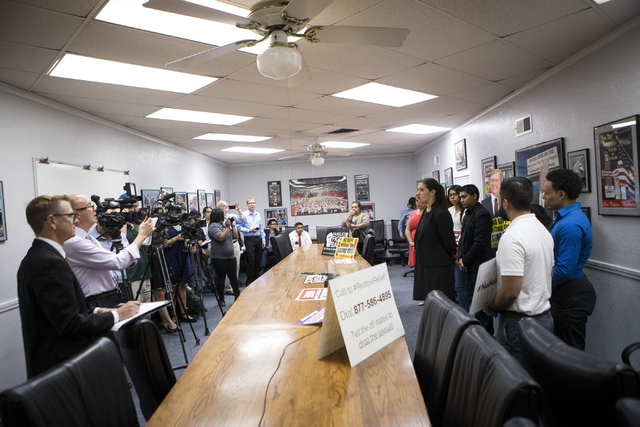 Immigrations activists hold a press conference on immigration and the upcoming political election at the Culinary Workers Union Local 226 on Tuesday, July 12, 2016, in Las Vegas. (Erik Verduzco/La ...
