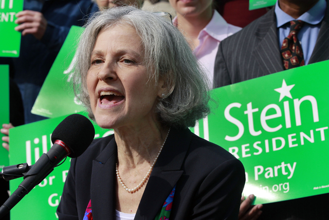 Jill Stein of Lexington, Mass. speaks during a news conference outside the Statehouse in Boston. Stein, a medical doctor who once ran against Mitt Romney for governor of Massachusetts says she can ...