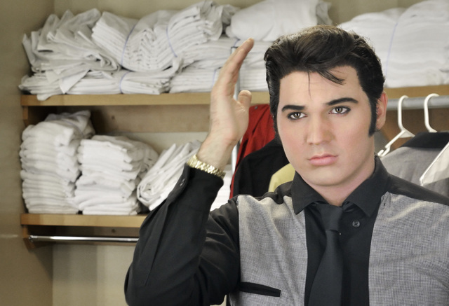 Cody Ray Slaughter prepares to take the stage as Elvis in ҉mages of the King Las VegasӠat Samճ Town Live in the Samճ Town hotel-casino at 5111 Boulder Hwy. in Las Vegas on Thursday, July 14, 2 ...