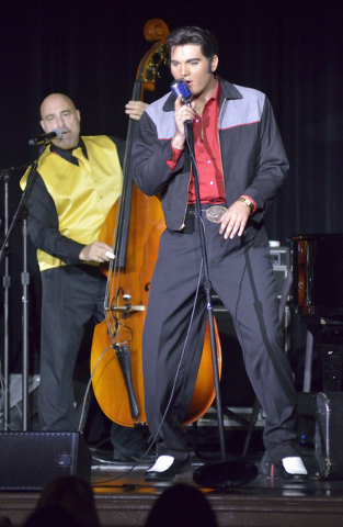 "Cody Ray Slaughter, right, performs as Elvis with Wade Bernard on bass during ""Images of the King Las Vegas"" at Sam's Town Live in the Sam's Town hotel-casino at 5111 Boulder Hwy. in Las V ..."