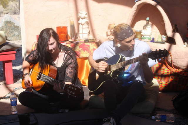 Participants play music at the 2015 Pagan Pride Day at the Sekhmet Temple of Goddess Spirituality at Indian Springs. Special to View