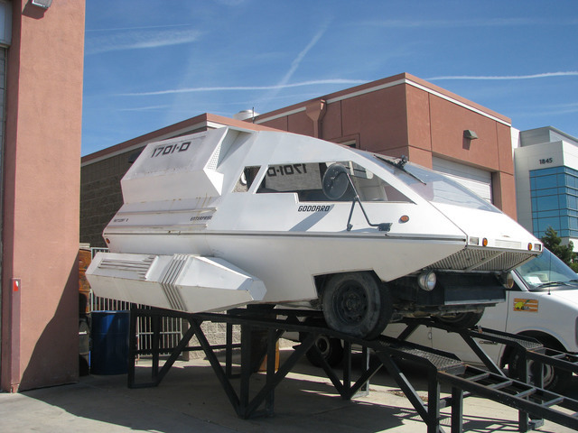 """An art car replica of a """"Star Trek"""" Shuttlecraft is undergoing repairs and modification at Sin City BMW, 5710 Spencer St. The vehicle has been to several Burning Man events, and the owners hop ..."""