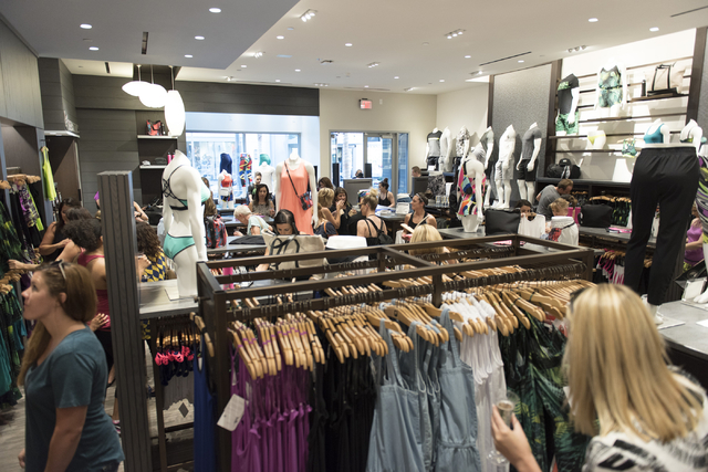 Customers shop during a preview event for the Fabletics active wear clothing store at Downtown Summerlin in Las Vegas Thursday, July 21, 2016. Jason Ogulnik/Las Vegas Review-Journal