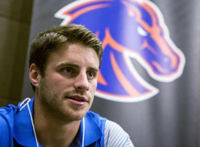 Boise State Broncos wide receiver Thomas Sperbeck discusses the upcoming season during the Mountain West Football Media Day Tuesday, July 26, 2016, at Cosmopolitan of Las Vegas. Jeff Scheid/Las Ve ...