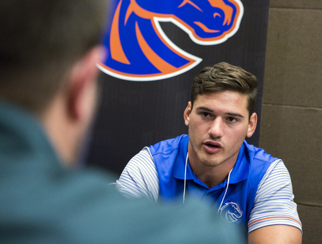 Boise State Broncos linebacker Ben Weaver discusses the upcoming season during the Mountain West Football Media Day Tuesday, July 26, 2016, at Cosmopolitan of Las Vegas. Jeff Scheid/Las Vegas Revi ...